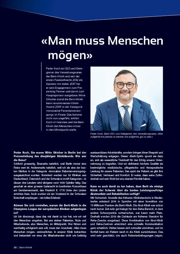Berit Klinik Hauptsponsor an der Nacht des Ostschweizer Fussballs 2019